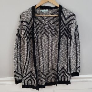 Maurices Geometric Knit Open Cardigan Sweater
